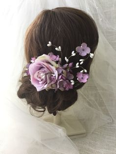 A personal favorite from my Etsy shop https://www.etsy.com/listing/172265705/lavender-rose-wedding-hair-clip-lavender