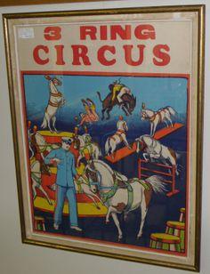 1930's Poster. '3-Ring Circus'  23 x 18