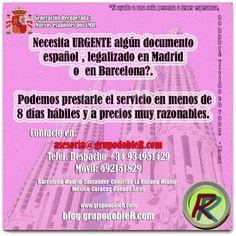 Necesita algún documento español URGENTE, legalizado en Madrid o en alguna institución en Barcelona?. Podemos prestarle el servicio en menos de 8 días hábiles y a precios muy razonables.
