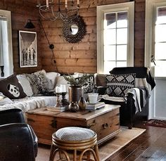 Paredes y pisos, Log Home Interiors, Cottage Interiors, Cabin Homes, Log Homes, Rustic Cabin Decor, Rustic Chic, Cabin Chic, Log Home Decorating, Cabins And Cottages