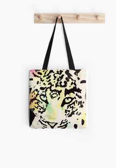 Scha mir in die Augen Leopard Tote, Reusable Tote Bags, Stickers, Artwork, Design, Stuff To Buy, Shopping, Unique, Bags