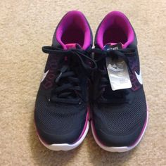 Nike Flex 2015 Run Black and purple rubber shoes. Brand new, never worn but no box. Nike Shoes Athletic Shoes
