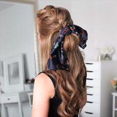 braided hair tutorial video # jumbo box Braids videos Braided Hairstyle for Long Hair Easy Hairstyles For Medium Hair, Braids For Long Hair, Scarf Hairstyles, Messy Hairstyles, Box Braids, Headband Braids, Quick Braided Hairstyles, Braid Ponytail, Knotted Braid