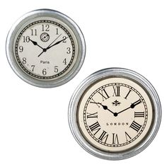 2-Pc. Chrome Clock Set