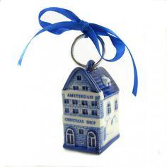 KERST HUISJE DELFTS BLAUW AMSTERDAM CHRISTMAS SHOP 5.5 CM - Kerstartikelen - Holland Souvenir Shop