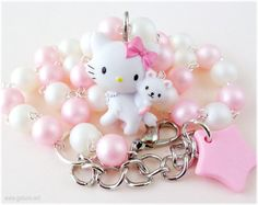 Charmmy Kitty Necklace, Beaded Pearl Chain, Pastel Pink and White - Sweet Lolita, Kawaii Jewelry