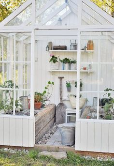 Greenhouse can also be used as a small shed or garden room! Wood panels along back will provide privacy. Greenhouse Shed, Greenhouse Gardening, Greenhouse Benches, Potting Benches, Small Greenhouse, Shabby Chic Greenhouse, Old Window Greenhouse, Indoor Greenhouse, Greenhouse Wedding