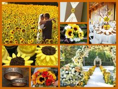 Sunflower wedding theme.  We are totally taking pictures in a sunflower field.