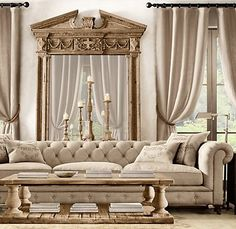 Kensington Upholstered Sofa...This sofa by Restoration hardware gives a new meaning to shabby chic with its beautiful timeless design and rustic textile! A+    )) Jacklove ((