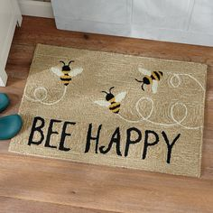 Bee Happy Indoor/Outdoor Mat - x Kitchen Themes, Kitchen Ideas, Kitchen Decor, Bee Crafts, Bee Theme, Bee Happy, Welcome Mats, Bees Knees, Mellow Yellow