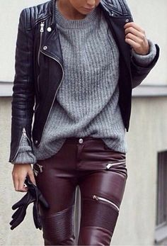 Grey sweater oversized knit pullover top #Jeans #buyable