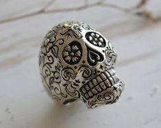 grim Reaper skull Ring for unisex made of sterling silver 925 Gothic biker Gothic Rings, Sterling Silver Mens Rings, Biker Rings, Biker Style, Statement Rings, Beautiful Rings, Jewelry Shop, Rings For Men, Skull