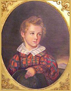 Antique miniature portrait of a boy in Tartan.