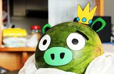 Love this idea -- an Angry Birds watermelon!