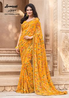 47e94adfb9 Browse this Admirable Yellow Colored u.nSaree and Yellow Colour Georgette  Blouse along with Rawsilk Work Lace Border from Laxmipati Sarees.