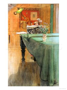 Young Girl at a Grand Piano Plakater af Carl Larsson på AllPosters.dk