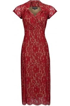 Yasmin dress in flower lace #PrettyEccentric #Bride #Bridesmaid #Wedding #Vintage #Lace #Red