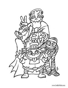 Halloween monsters coloring page source