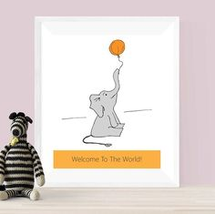 """New """"Welcome to the world!"""" elephant print. Available on my etsy shop link in bio. - - - #fionabarkerdesign  #fbd  #smallbusiness  #etsy  #welcometotheworld  #baby  #northants  #wallart  #printable  #elephant  #nursery  #babyshower  #babylove  #sweet  #cute  #design  #designer  #sketch  #gift  #newbaby"""