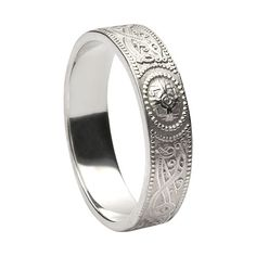 Celtic Warrior Shield Wedding Ring Silver Ladies & Mens