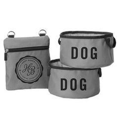Fold Up Travel Dog Bowls & Pouch