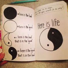 Wreck This Journal Inspiration. Yin-Yang hope you enjoy Bullet Journal Ideas Pages, Bullet Journal Inspiration, Journal Pages, Journal Ideas Tumblr, Bullet Journals, Wreck This Journal, My Journal, Scrapbook Journal, Kunstjournal Inspiration