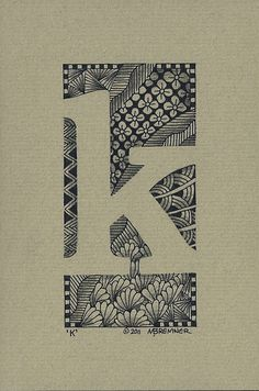 Negative space Zentangle inspired letters