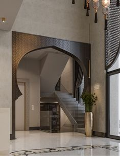 Glamorous and luxurious, yet warm and welcoming this modern-Moroccan hotel design is a tranquil urban oasis in the heart of Al-Khobar city in Saudi Arabia. Modern Moroccan, Home Room Design, House Design, House, Hotel Interior Design, Moorish Design, Home Interior Design, Hotels Design, Islamic Decor