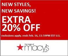 Macys Extra 20% off