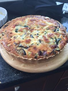 Quiche with mediterranean greens and mozarella
