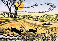'Starlings and Hares' By Printmaker Rob Barnes. Blank Art Cards By Green Pebble. www.greenpebble.co.uk