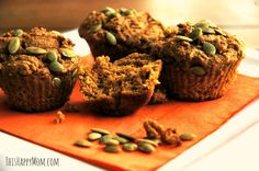 This is my go-to choice for a whole grain pumpkin muffin recipe.  It's fast, forgiving, and flexible.  No eggs, whole grains, and real ingredients. Did I mention my kids gobble them like junk food?