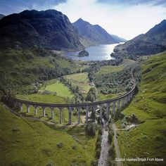 The Glenfinnan Viaduct in Scotland featured in the Harry Potter films.