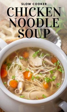 Slow Cooker Chicken Noodle Soup Recipe that's hearty and simple to make! Crock Pot Chicken Noodle Soup made by slow cooking chicken, carrots, onions, and egg noodles making this the best Homemade Chicken Noodle Soup. #Chicken #Meat #Soup #Chickennoodlesoup #Chickensoup #noodlesoup