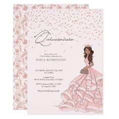 Shop Elegant Pink Rose Gold Floral Quinceanera Birthday Invitation created by elegant_invites_. Quince Invitations, Pink Invitations, Elegant Invitations, Birthday Party Invitations, Rose Gold Pink, Rose Gold Glitter, Quinceanera Decorations, Quinceanera Planning, Quinceanera Party