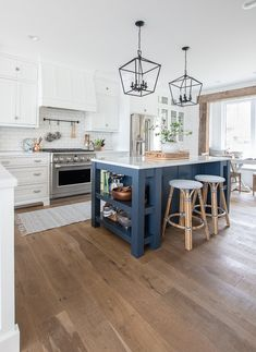 This Blue Note by Benjamin Moore painted island gives a pop of color to this lake house kitchen. White Kitchen, Living Room Kitchen, Kitchen Remodel, Kitchen Decor, Modern Kitchen, Home Kitchens, Kitchen Renovation, Blue Kitchen Island, Kitchen Design