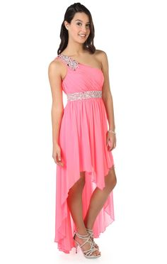 Deb Shops #neon #pink one shoulder #prom #dress with beaded detail and high low hemline