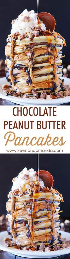 Making these for Kai. OMG These Reese's Chocolate Peanut Butter Cup Pancakes are UNREAL!!! Love this giant stack of pancakes!!