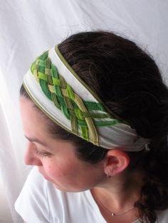 Woven Narrow Shades of Green Upcycled Tshirt Headband by Misty Valadez