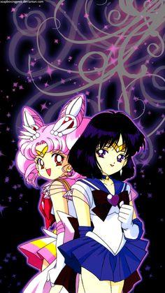 Sailor Chibi Moon and Sailor Saturn Iphone Wallpaper Sailor Moon Drops, Sailor Moon Girls, Arte Sailor Moon, Sailor Moon Stars, Sailor Moon Manga, Sailor Jupiter, Saturn Iphone Wallpaper, Sailor Moon Wallpaper, Cristal Sailor Moon
