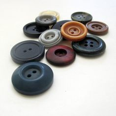 Vintage Big Plastic Buttons Set of 13 sewing Buttons by USSR70s