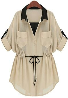 Apricot Chiffon Pockets Rolled Sleeve Drawstring Outerwear - - Apricot Chiffon Pockets Rolled Sleeve Drawstring Outerwear Fashion fix Apricot Chiffon Pockets Rolled Sleeve Drawstring Outerwear Girls Fashion Clothes, Teen Fashion Outfits, Look Fashion, Clothes For Women, Stylish Dresses For Girls, Stylish Dress Designs, Stylish Outfits, Women's Dresses, How To Roll Sleeves