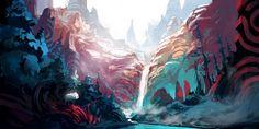 HD wallpaper: painting of water falls and cliff, Duelyst, nature, beauty in nature Fantasy Landscape, Landscape Art, Fantasy Art, Art Environnemental, Artist Art, 8bit Art, Art Et Illustration, Matte Painting, Watercolor Paintings