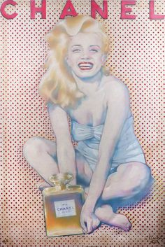 "Pietro Psaier (1936–2004) silkscreen on canvas, marked ""A/P Proof"" and ""Not for public sale/Client design."" Signed in lower right corner by artist; signed certificate of authenticity attached. Image shows Monroe with a bottle of Chanel No. 5. Commissioned from the artist by Anna Nicole Smith. 53 1/4 by 35 1/2 inches."