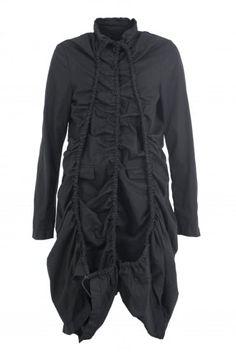Black Stretch Cotton Coat