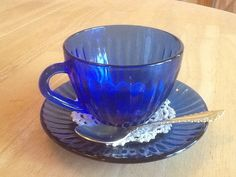 Cobalt Blue Cup and Saucer Set  Vintage, With Spoon and Doily