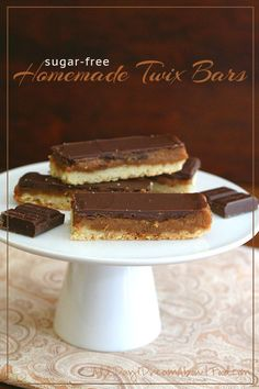 Low Carb Homemade Twix Bars - tender shortbread, sweet caramel and sugar-free milk chocolate. And a giveaway for Lily's Chocolate!