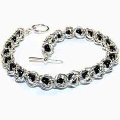 Silver and Black Chainmaille Bracelet 8.25 in by BisouTwo on Etsy