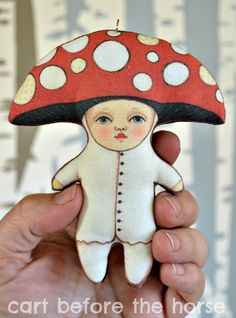 Mushroom Ornament--  Original Folk Art Doll-- Printed, Sewn, and Stuffed Fabric