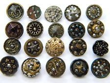 20 Antique Vintage metal buttons victorian cut steel old picture brass steels